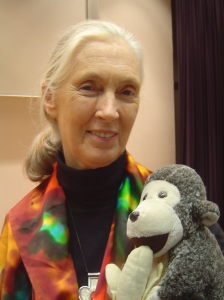 Jane Goodall with a friend